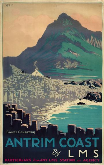 Giants Causeway, Antrim Coast, Northern Ireland. Vintage LMS Irish Travel poster by RG Praill